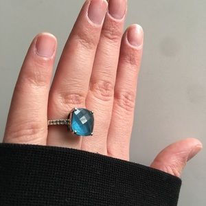 14k White Gold Ring,Blue Topaz&Diamond Accent Ring
